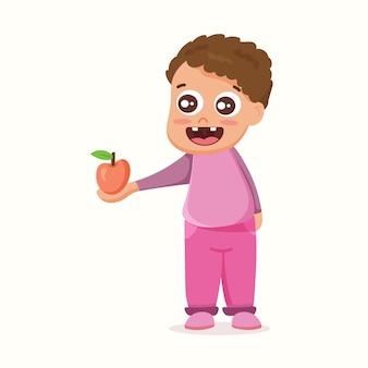 その少年はリンゴを共有している。フラットスタイルのベクトル図