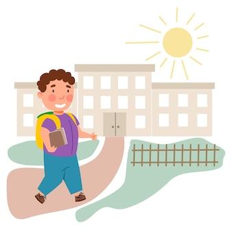 Мальчик ходил в школу. ребенок вернулся в школу. векторная иллюстрация в плоском стиле.
