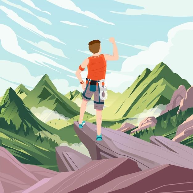 산과 푸른 하늘 일러스트와 함께 바위산 정상에 오른 것을 응원하던 소년
