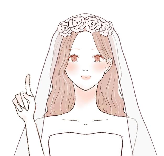 指を指さしながら説明する花嫁。白い背景に。
