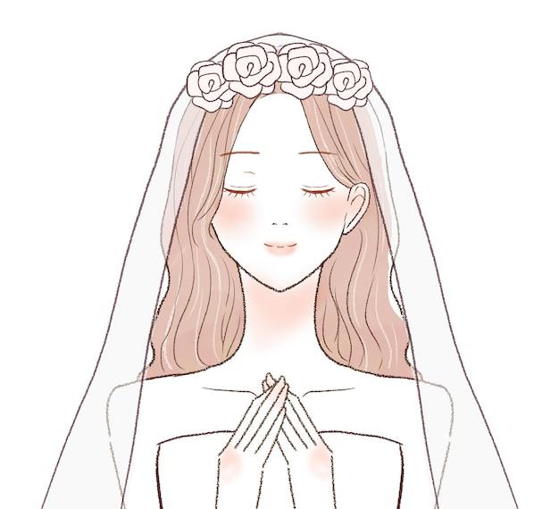 花嫁は両手を胸に当てて安心します。白い背景に。