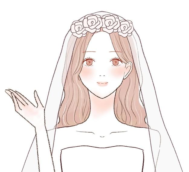片手で案内される花嫁。白い背景に。