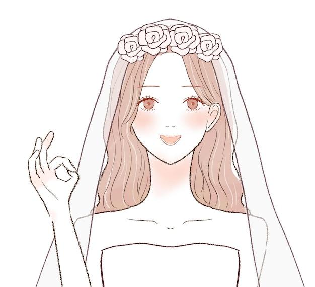 Okサインを刻んでいる花嫁。白い背景に。
