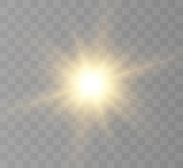 Яркое солнце светит теплыми лучами векторные иллюстрации