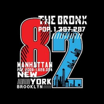 ブロンクス都市のタイポグラフィー番号tシャツ