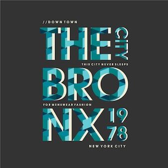 ブロンクスのグラフィックタイポグラフィデザインイラストプリントtシャツ