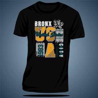 브롱크스 뉴욕 타이포그래피 그래픽 티셔츠 벡터 일러스트 레이션
