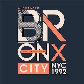 ブロンクスニューヨーク市タイポグラフィベクトルイラストプリントtシャツ