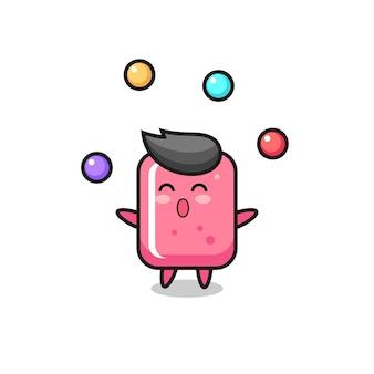 공을 저글링하는 풍선껌 서커스 만화, 티셔츠, 스티커, 로고 요소를 위한 귀여운 스타일 디자인