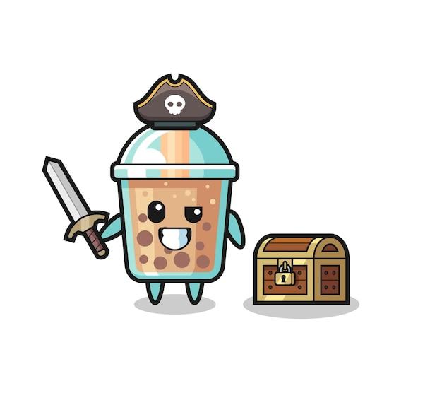 宝箱の横に剣を持っているバブルティー海賊キャラクター、tシャツ、ステッカー、ロゴ要素のかわいいスタイルのデザイン