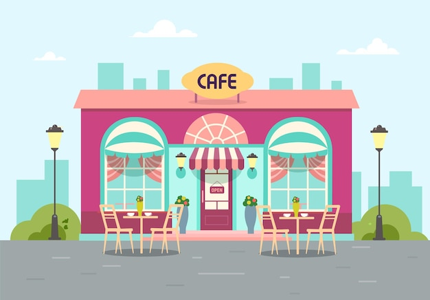 В здании летнее кафе стильная кофейня в городе со столиком.