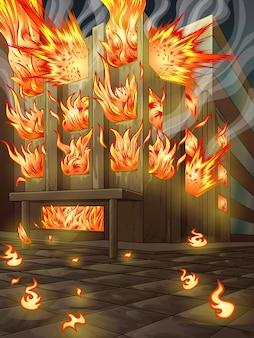 Здание горит.
