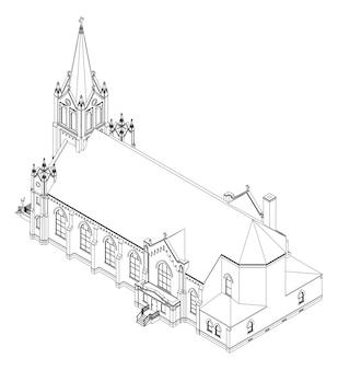Здание католической церкви, виды с разных сторон. трехмерная иллюстрация на белом фоне.