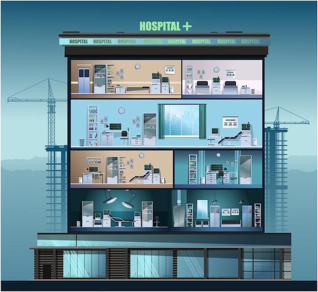 病院の建物。商工会議所、診療所。 。