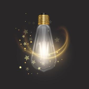 Колба в стиле ретро на темной подложке светящаяся лампочка в реалистичном стиле