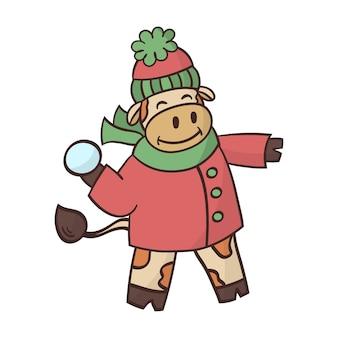 冬のコートの雄牛は雪で遊ぶ