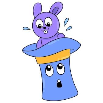 Кролик дарит сюрприз, выходящий из шляпы фокусника, векторная иллюстрация. каракули изображение значка каваи.