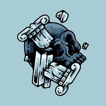 青で分離された埋もれた頭蓋骨
