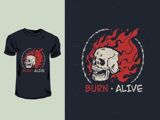燃える頭蓋骨の頭のtシャツのデザインイラスト