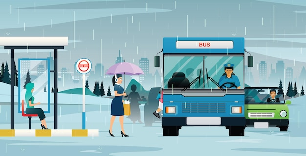 비가 내리자 버스는 승객을 태우고 뒷좌석에 있던 차가 멈춰 섰다.