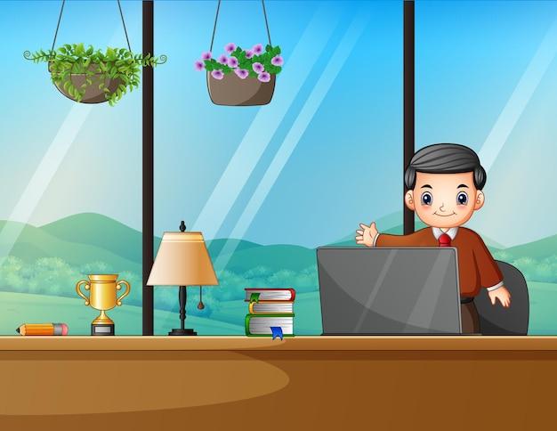 Деловой человек работает в офисе иллюстрации