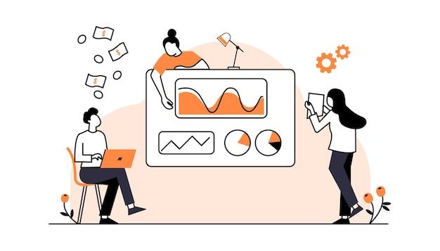 ビジネスチーム会議スタートアップフラットベクトルイラスト漫画