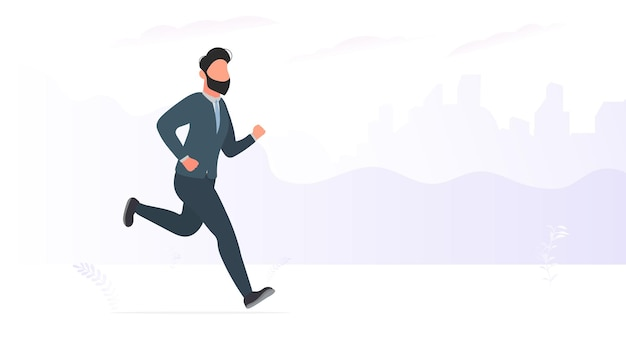 사업가가 실행 중입니다. 비즈니스 정장을 입은 남자가 달리고 있습니다. 비즈니스 테마 디자인에 좋습니다. 벡터.