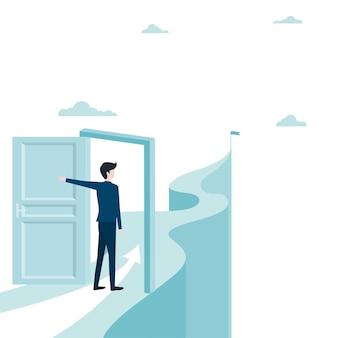 ビジネスマンは山のターゲットに向かってドアを開けます。コンセプトビジネスの成功。リーダーシップ、野心。 eps-10ベクトルイラストフラット