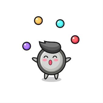 ボールをジャグリングするボタン電池サーカス漫画、tシャツ、ステッカー、ロゴ要素のかわいいスタイルのデザイン