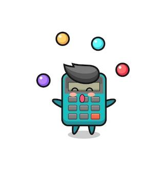 공을 저글링하는 계산기 서커스 만화, 티셔츠, 스티커, 로고 요소를 위한 귀여운 스타일 디자인