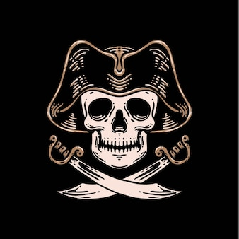 頭蓋骨海賊の船長プレミアムベクトルテンプレート