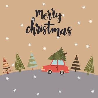 車はクリスマスツリーのクリスマスまたは新年のデザインを運んでいます