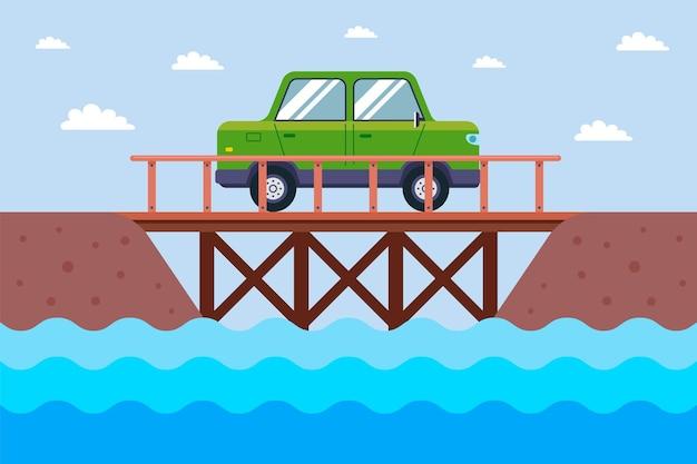 車は川を渡る木製の橋に乗っています。フラットなイラスト。