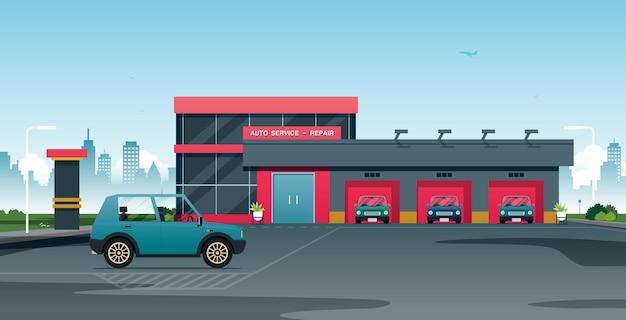 자동차는 정비사가 수리 센터에서 확인하기를 기다립니다.