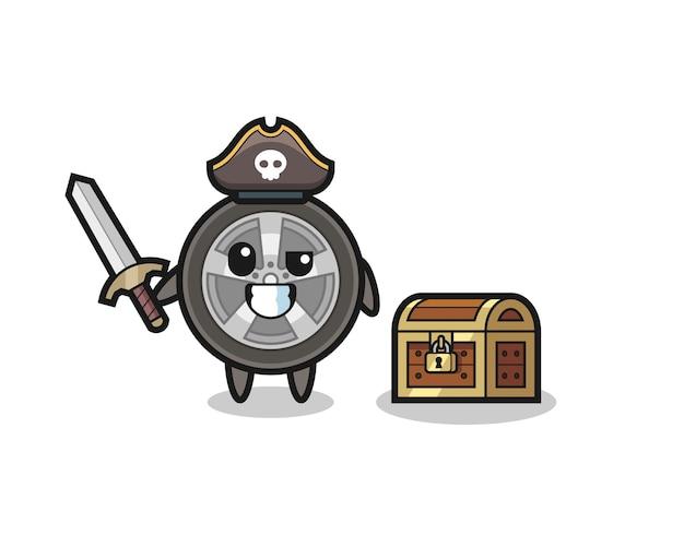 Пиратский персонаж с колесом автомобиля, держащий меч рядом с сундучком с сокровищами, симпатичный дизайн для футболки, стикер, элемент логотипа