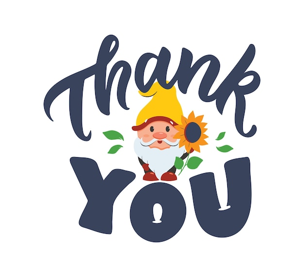 Открытка с гномом и надписью цитата спасибо мультфильм и фраза на день благодарения