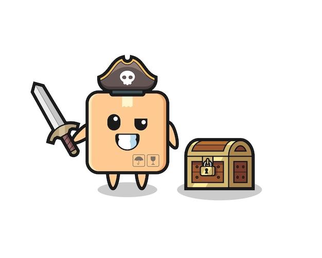 보물 상자 옆에 칼을 들고 있는 판지 상자 해적 캐릭터, 티셔츠, 스티커, 로고 요소를 위한 귀여운 스타일 디자인