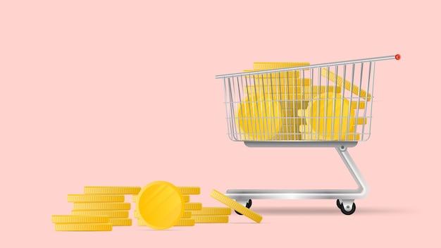 スーパーのカートは金貨でいっぱいです。