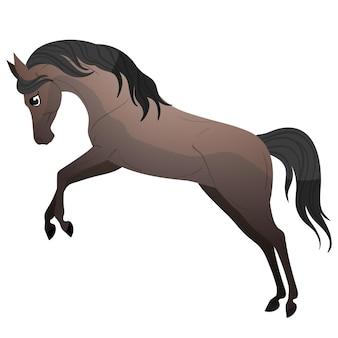 Прыжок картонной лошади. отдельные векторные иллюстрации. пони иллюстрация для детской книги.