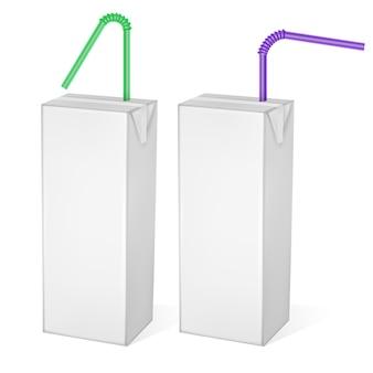 Картонные пакеты молока или сока, изолированные на светлом фоне. картонные упаковки, иллюстрация белой упаковки