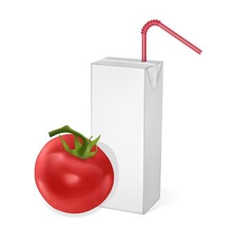 Картонные упаковки томатного сока, изолированные.