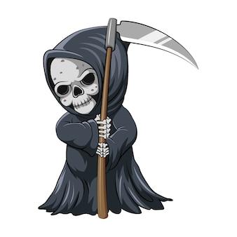 Мультфильм милого мрачного жнеца, держащего косу для вдохновения из сборника рассказов