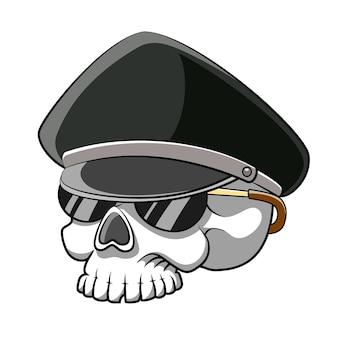 Мультяшный полицейский с черепом мертвой головы использует солнцезащитные очки для иллюстрации книги рассказов