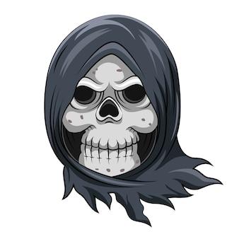 彼の頭を覆うために青いマントを盗む死んだ頭蓋骨の死神の漫画
