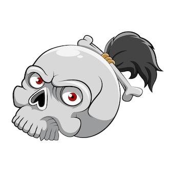 빨간 눈과 작은 조랑말 꼬리와 뼈를 가진 죽은 해골 머리의 만화