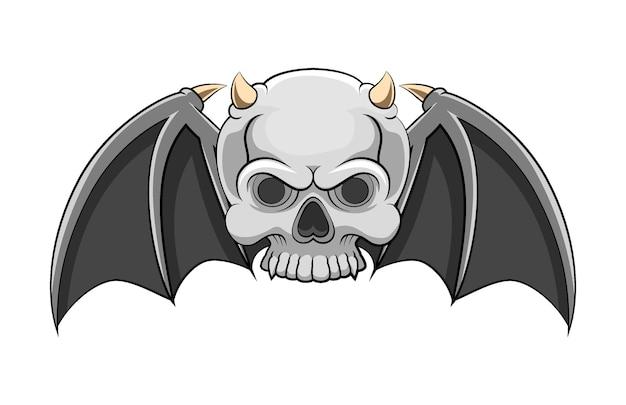 작은 뿔이 달린 죽은 해골의 만화와 파리를위한 두 개의 박쥐 날개가 있습니다.