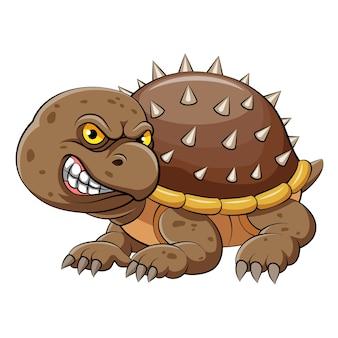 体を守るために黄色い目ととげのある殻を持つアオウミガメの漫画