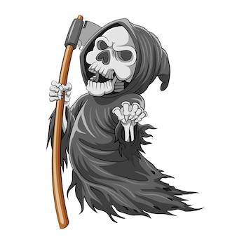 骨と色でいっぱいの鎌を持った死神の漫画