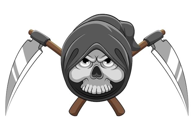 頭の後ろに2つの鎌がある頭の死神の骨の漫画