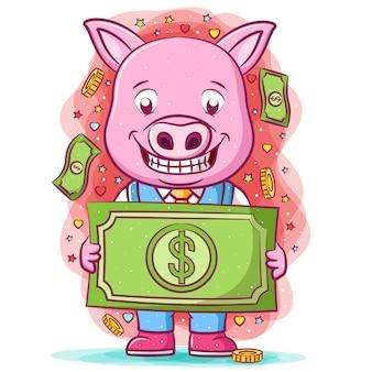 Мультфильм розовая свинья, держащая большой доллар Premium векторы